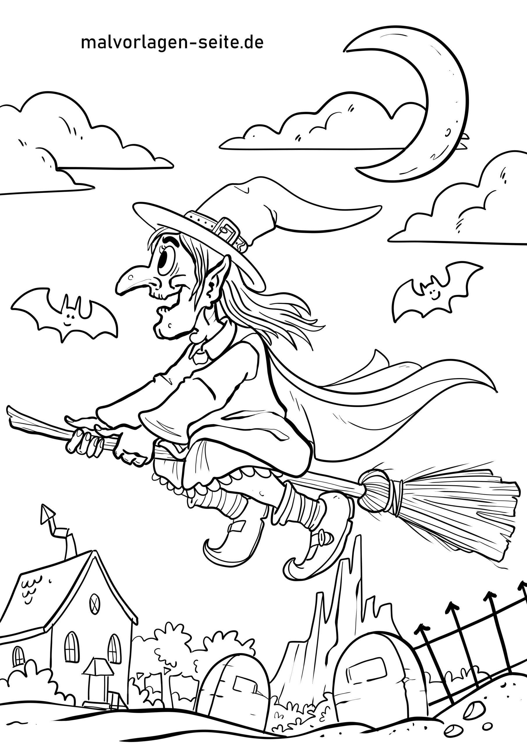 Malvorlage Walpurgisnacht Hexe - Ausmalbilder Kostenlos in Hexe Zum Ausmalen