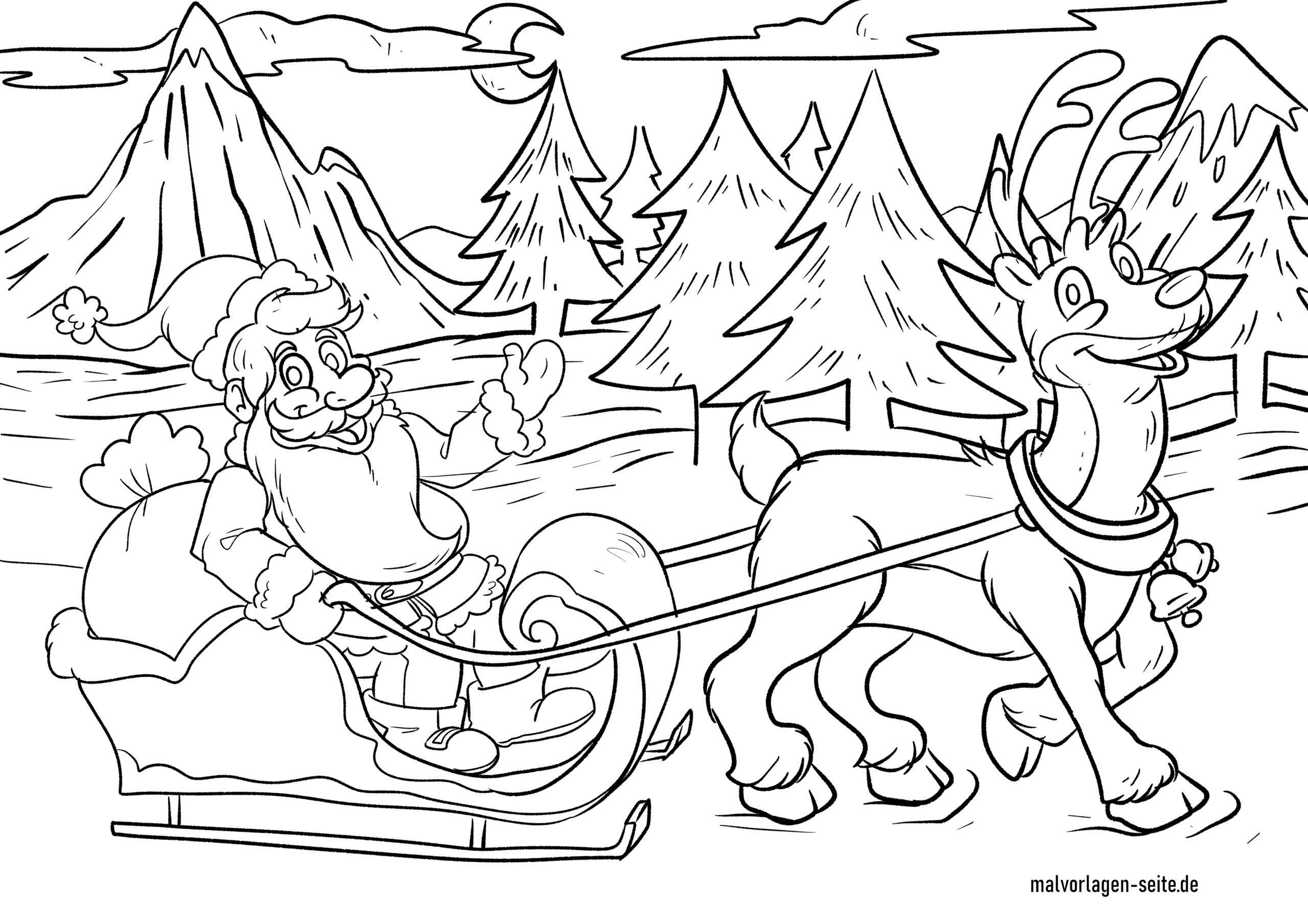 Malvorlage Weihnachtsmann Mit Rentier   Weihnachten ganzes Malvorlage Weihnachtsmann