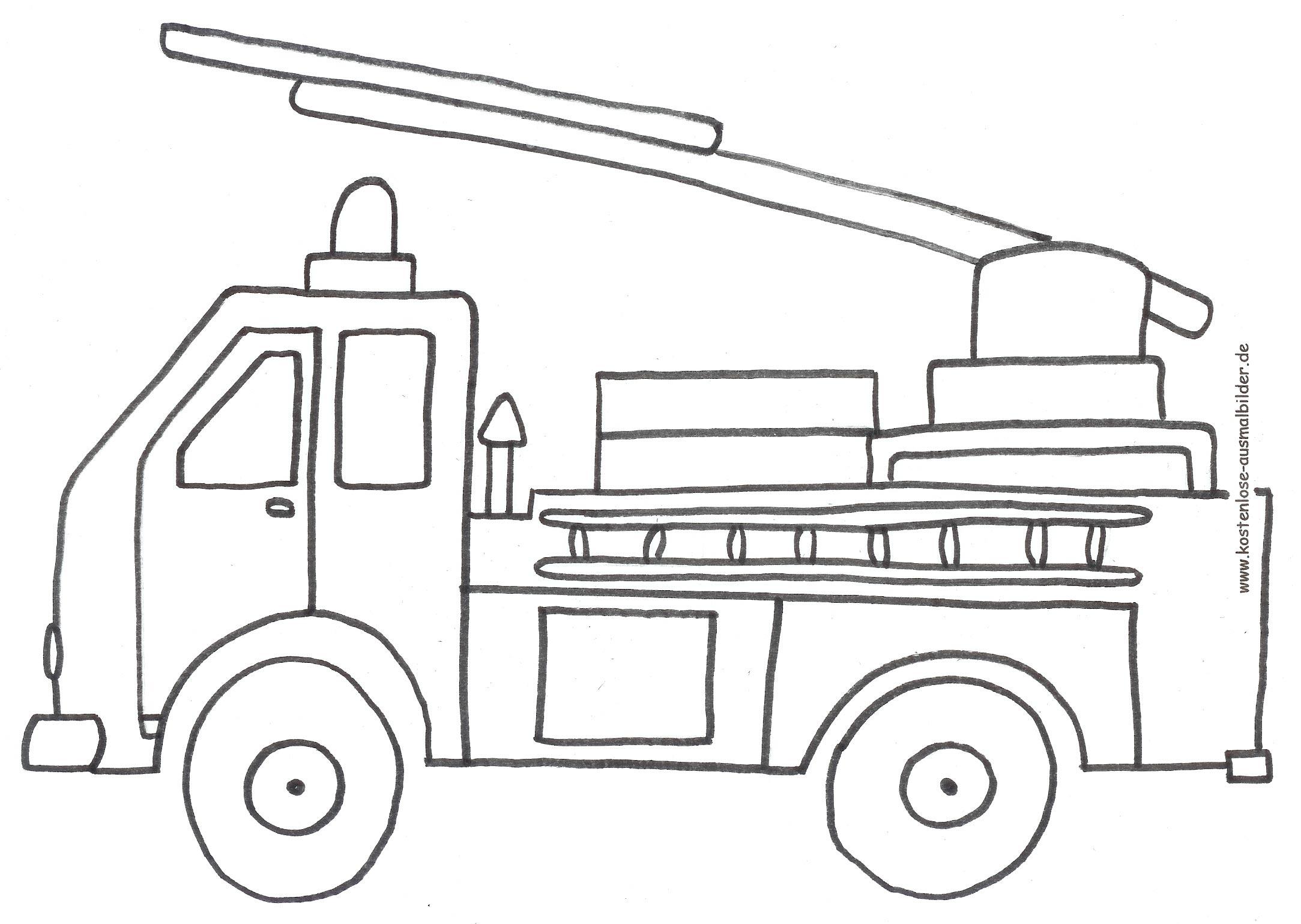 Malvorlagen - Ausmalbilder Feuerwehrauto   Ausmalbilder mit Feuerwehrauto Zum Ausmalen