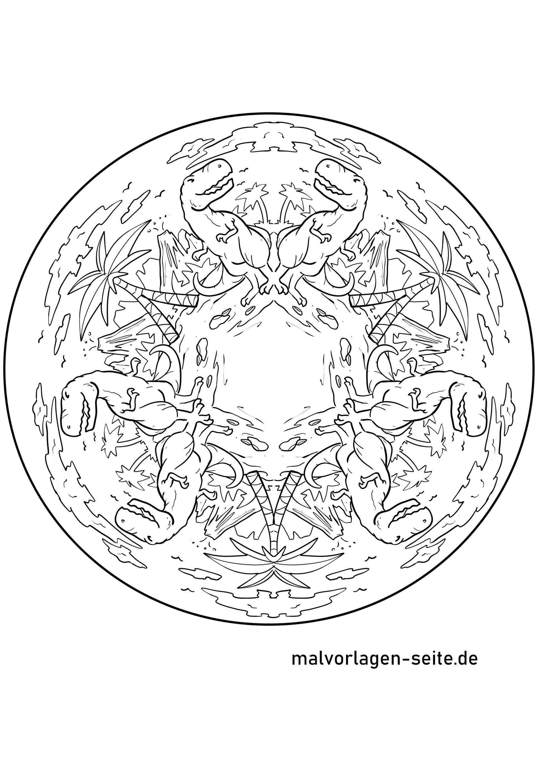 Mandala Dinosaurier - Ausmalbilder Kostenlos Herunterladen bestimmt für Mandala Dino