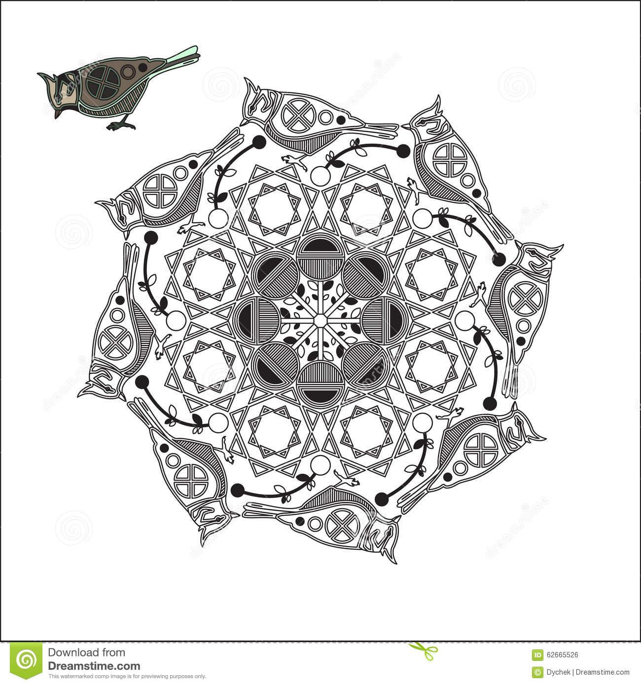 Mandala Mit Vogel Und Geometrischen Formen Vektor Abbildung in Mandala Vogel
