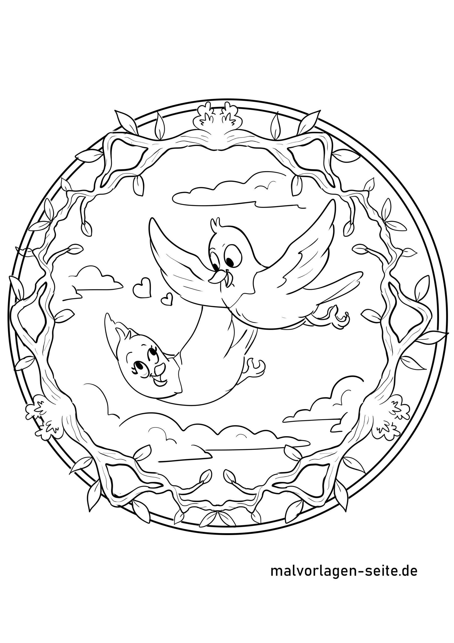 Mandala Vögel - Ausmalbilder Kostenlos Herunterladen innen Mandala Vogel