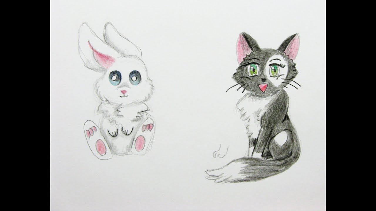 Manga Tiere Zeichnen Lernen #2: Hase Und Katze / Manga Zeichenkurs / Comic  Tiere mit Manga Tiere