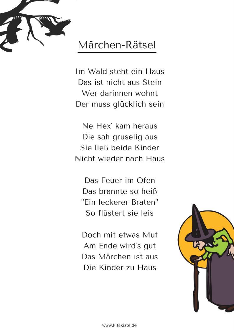 Märchen Rätsel Hänsel Und Gretel Gratis Download Autor bei Zungenbrecher Für Grundschulkinder