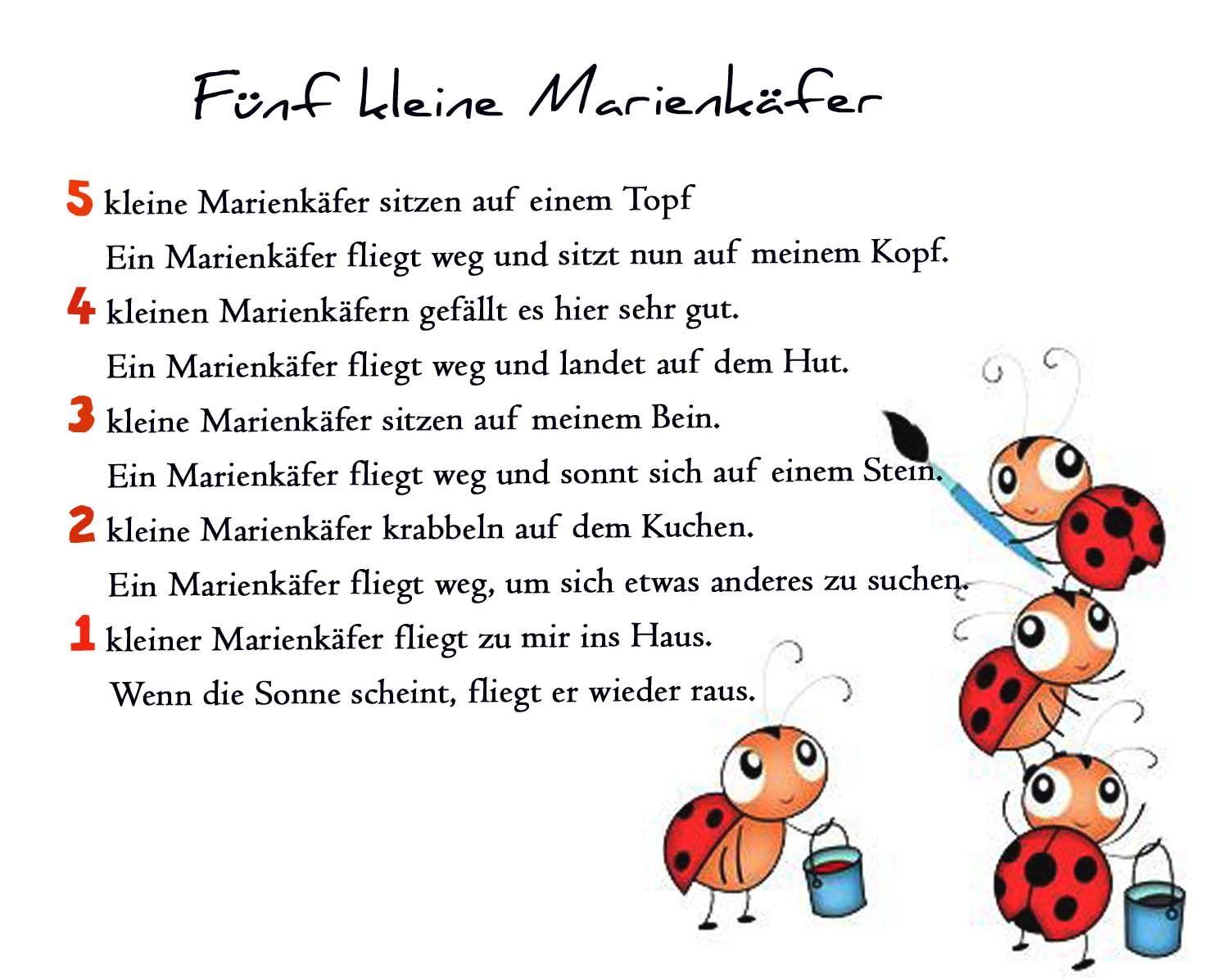 Marienkäfer Gedichte Reim Geschichte Kindergarten Erzieherin in Spruch Abschied Kindergarten Schulanfänger