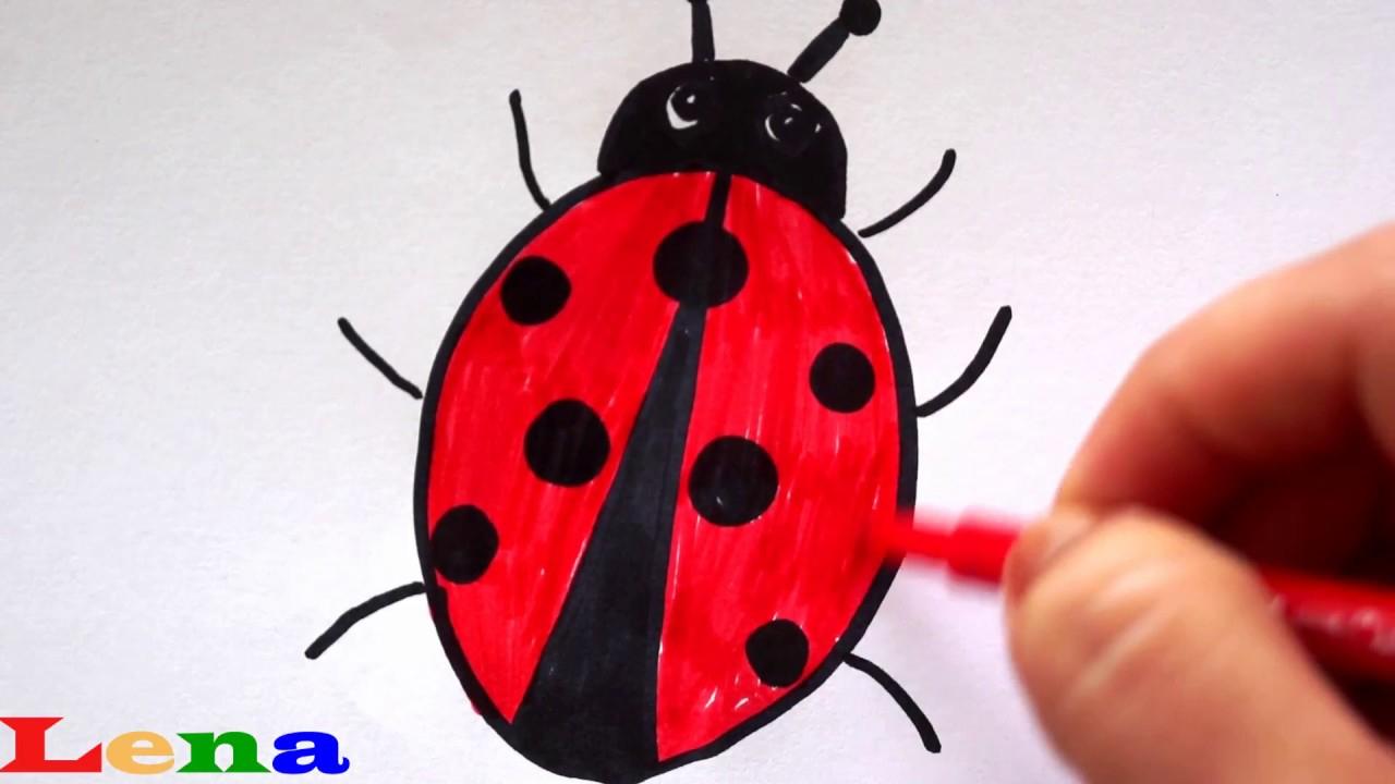 Marienkäfer Zeichnen 🐞 Malen Für Kinder 🐞 How To Draw A Ladybug 🐞 Как  Нарисовать Божью Коровку für Marienkäfer Selber Zeichnen