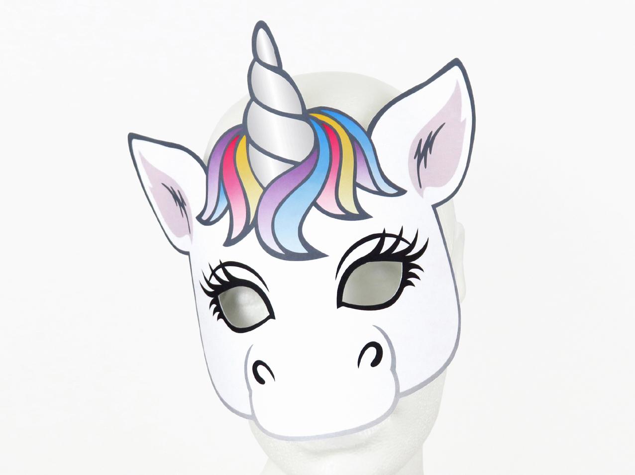 Maske - Einhorn - Zum Ausdrucken in Masken Zum Ausdrucken