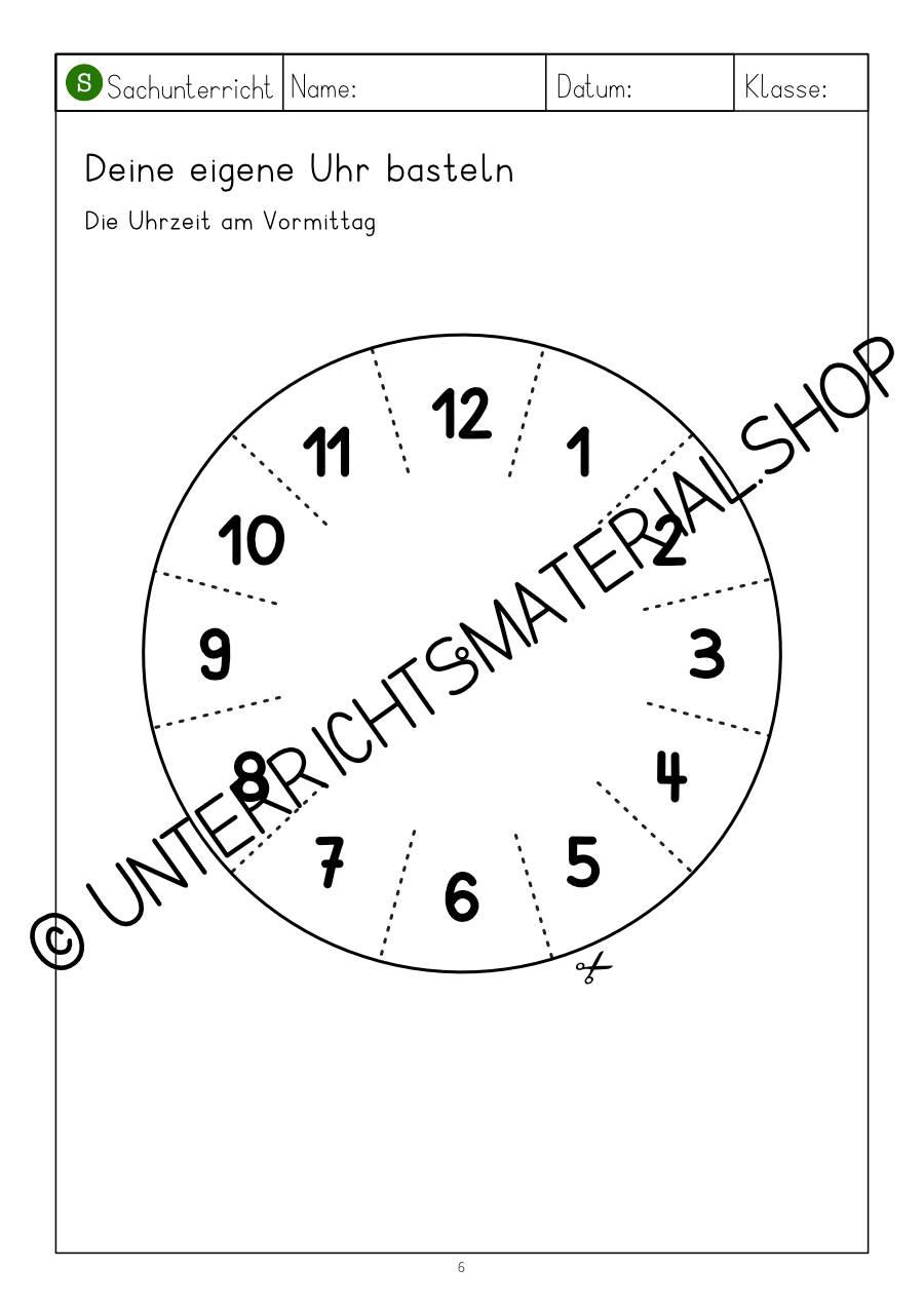"""Materialpaket """"uhr & Uhrzeit"""" innen Uhr Bastelvorlage"""