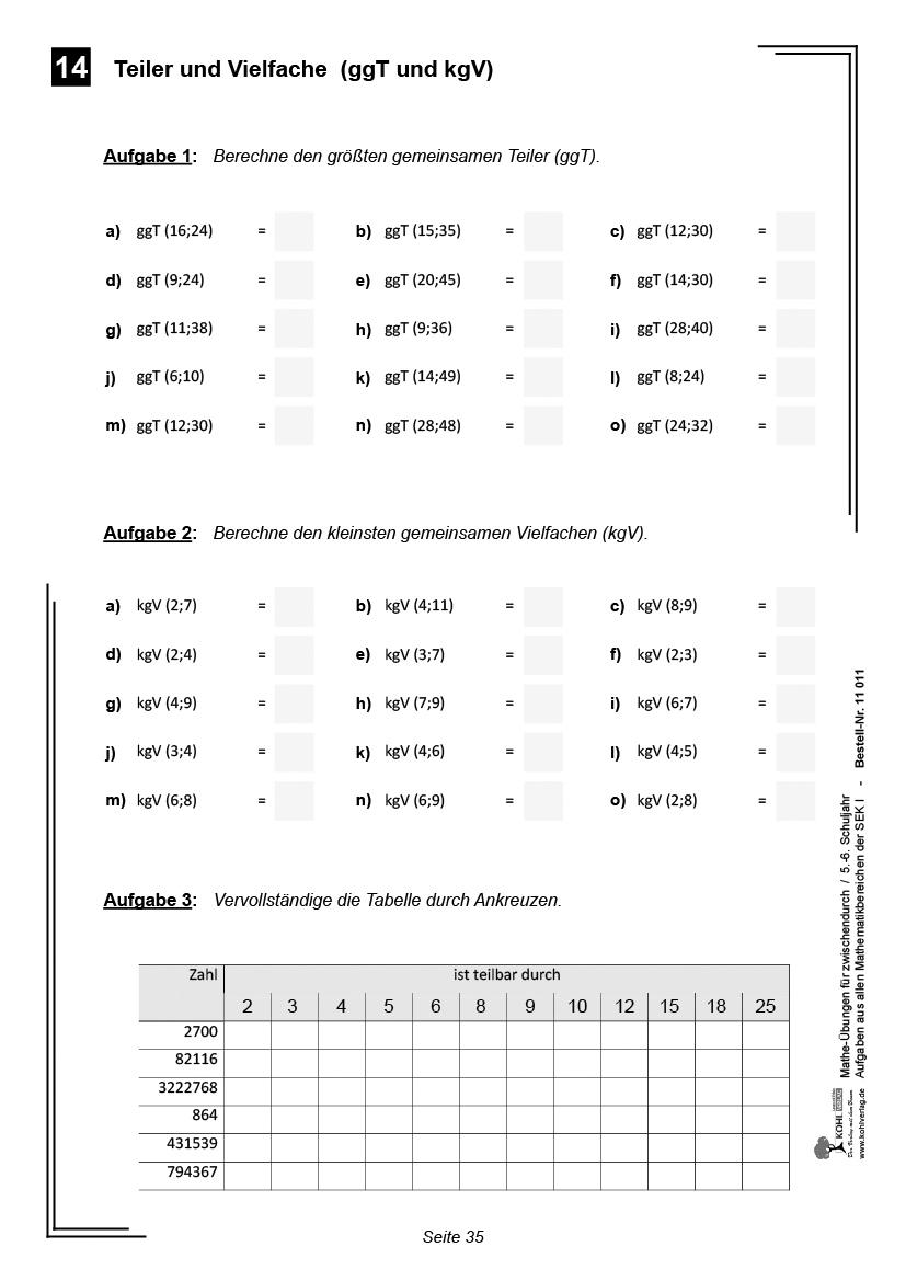 Mathe-Übungen Für Zwischendurch / Klasse 5-6 für Mathearbeit Gymnasium Klasse 5