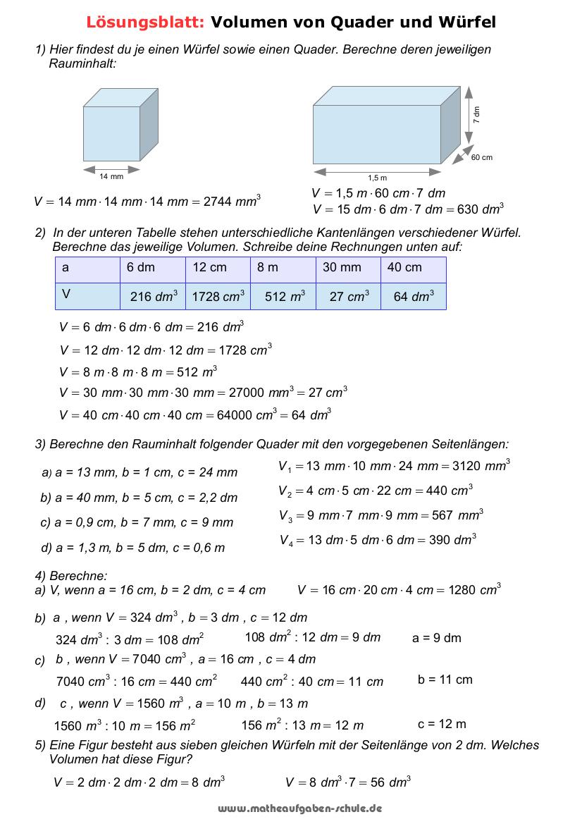 Mathematik 5. Klasse - Volumen in Mathearbeit Gymnasium Klasse 5