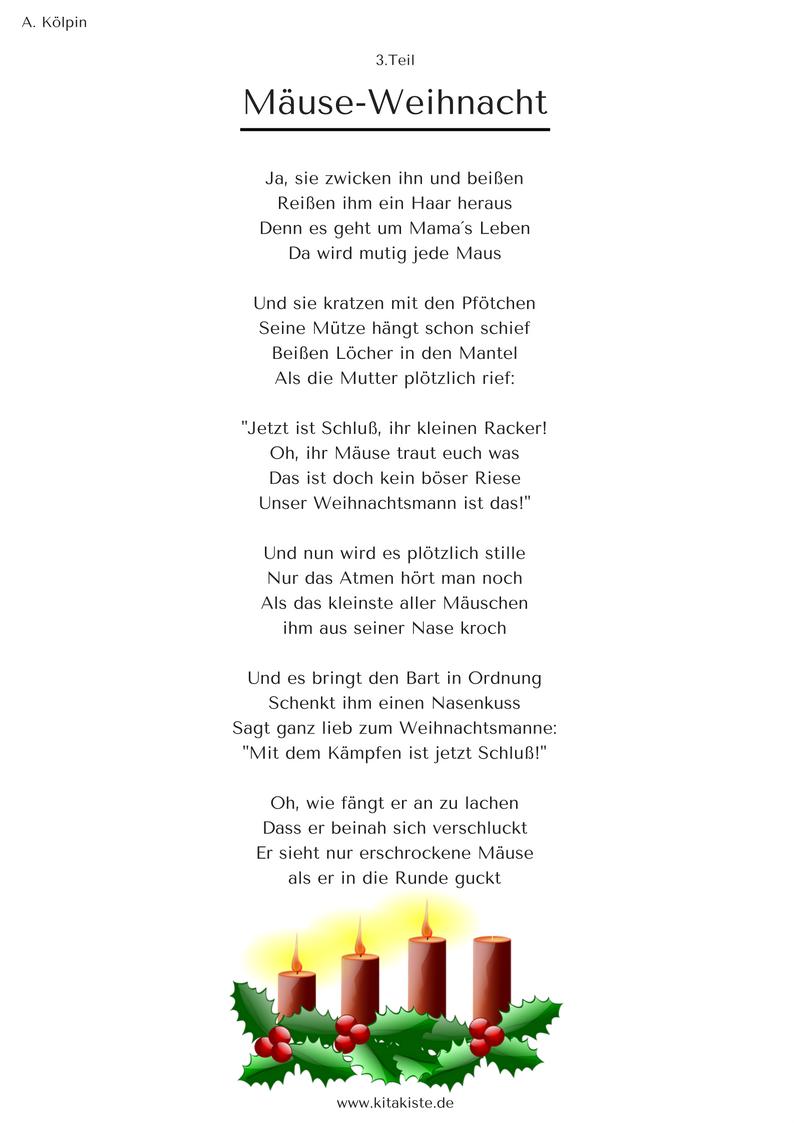 """Mäuse-Weihnacht"""" - Weihnachtsgeschichte In 24 Strophen bei Weihnachtsgedichte Für Kindergarten"""