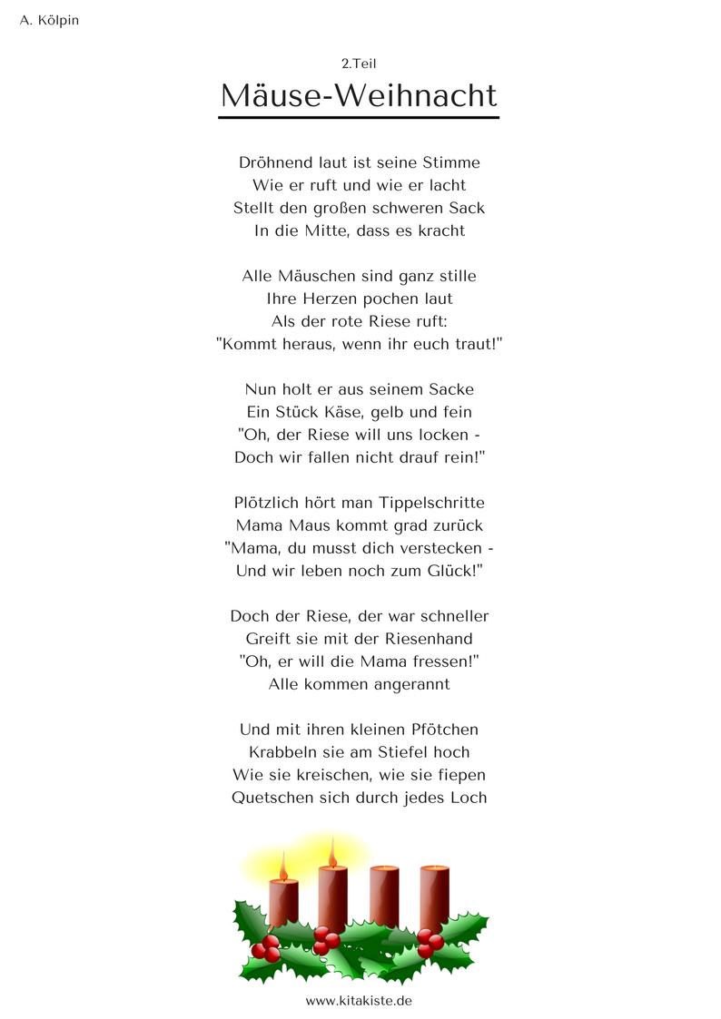 """Mäuse-Weihnacht"""" - Weihnachtsgeschichte In 24 Strophen in 24 Kurze Gedichte Für Adventskalender"""