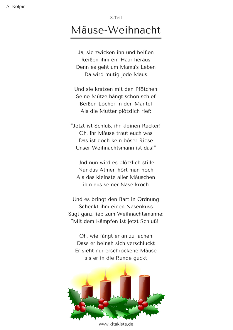 """Mäuse-Weihnacht"""" - Weihnachtsgeschichte In 24 Strophen über Lustige Weihnachtsgedichte Für Weihnachtsfeier"""