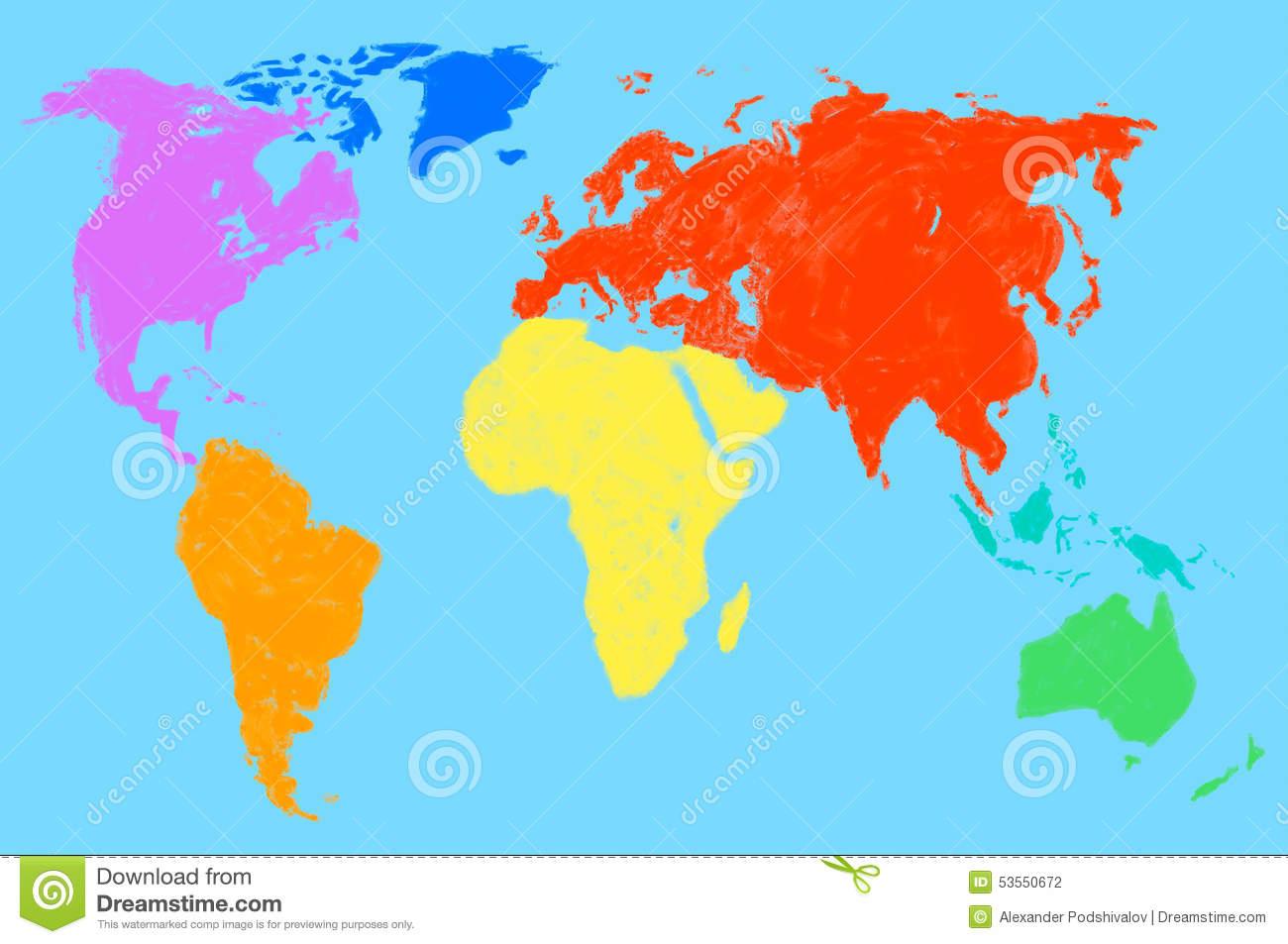 Mehrfarbige Weltkarte, Lokalisiert Stock Abbildung für Weltkarte Farbig
