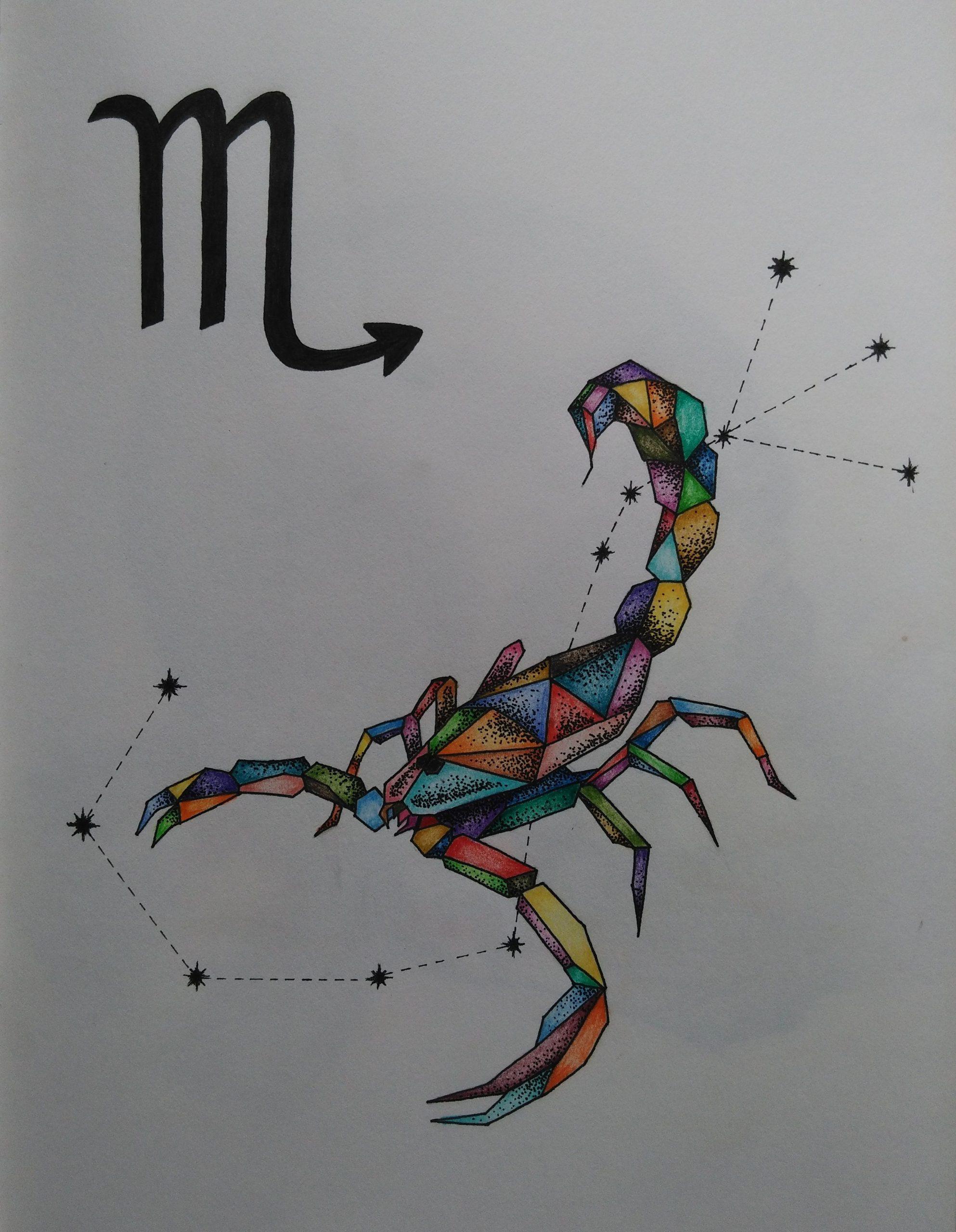 Mein Sternzeichen Skorpion - Buntstift Und Fineliner (Mit verwandt mit Skorpion Sternzeichen Bilder