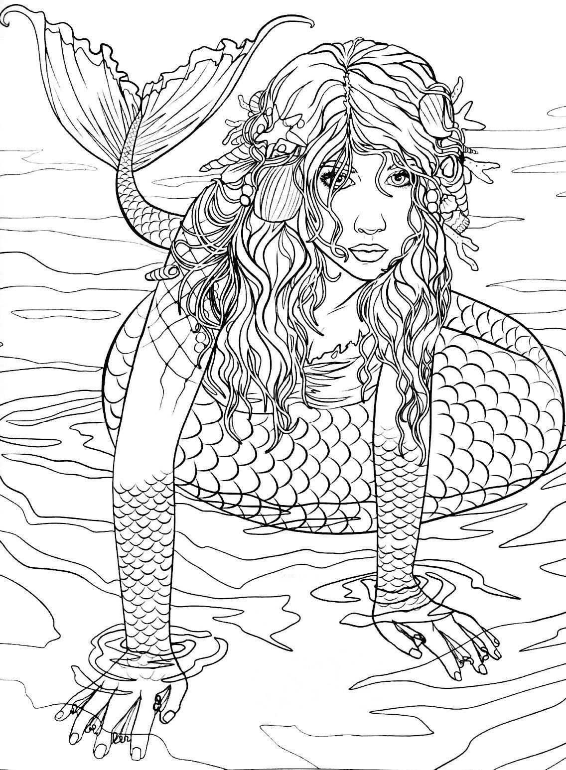 Mermaid Coloring Page (Mit Bildern)   Ausmalbilder, Malbuch mit Schwierige Ausmalbilder Für Erwachsene