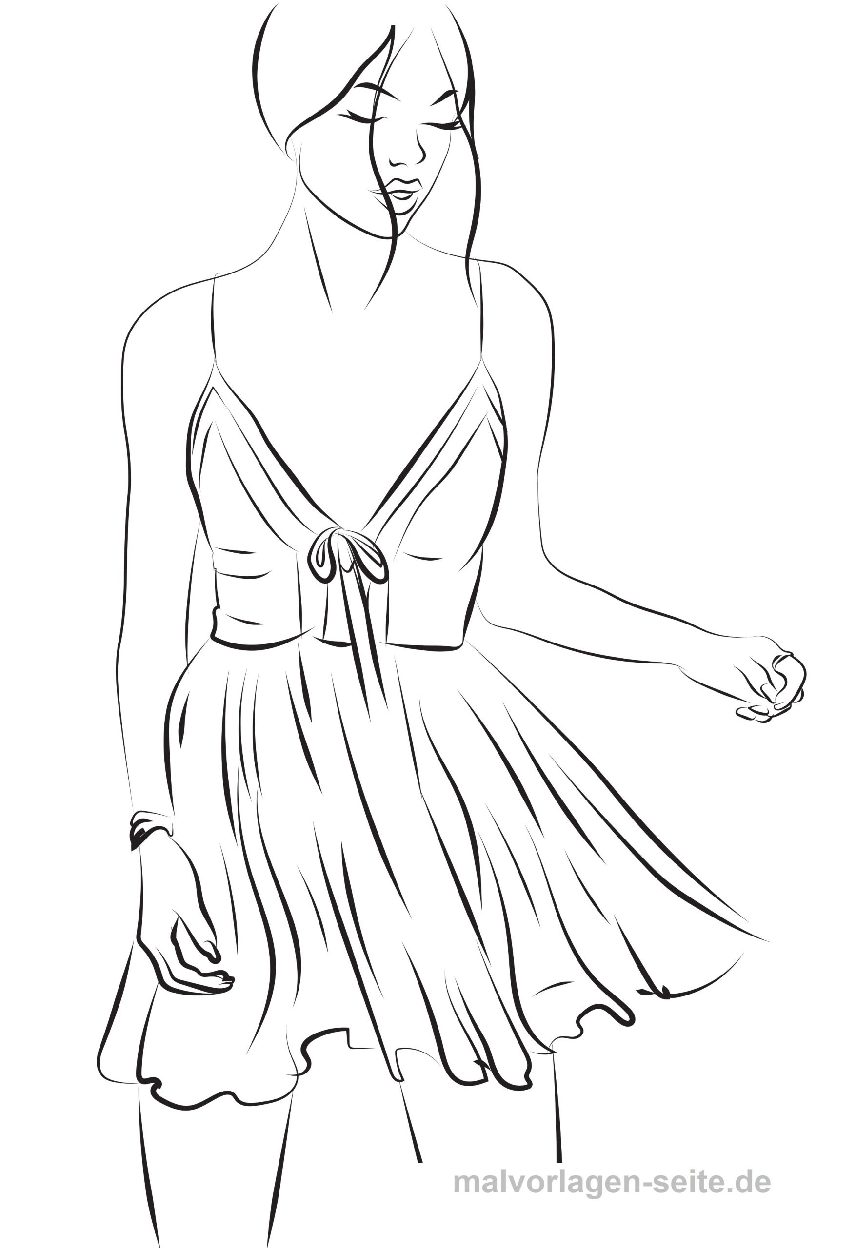 Model Ausmalen Topmodel Malvorlage Kleid - Ausmalbilder innen Topmodel Bilder Zum Ausmalen