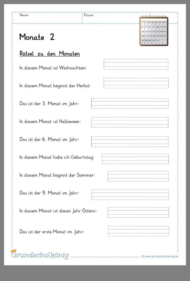Monate Sachunterricht Grundschule (Mit Bildern mit Monate Arbeitsblatt