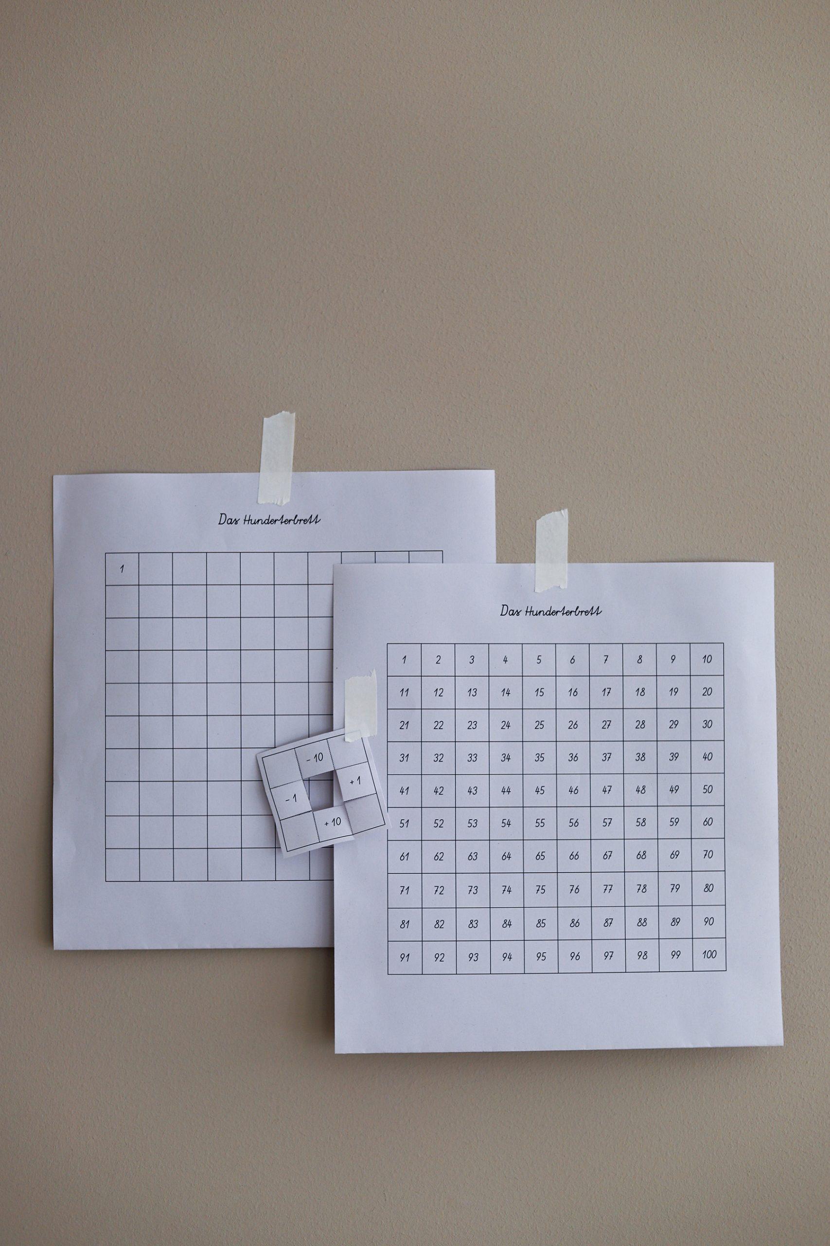Montessori Material Ausdrucken: Hunderterbrett + Geniale bei Spielerisch Rechnen Lernen Kostenlos