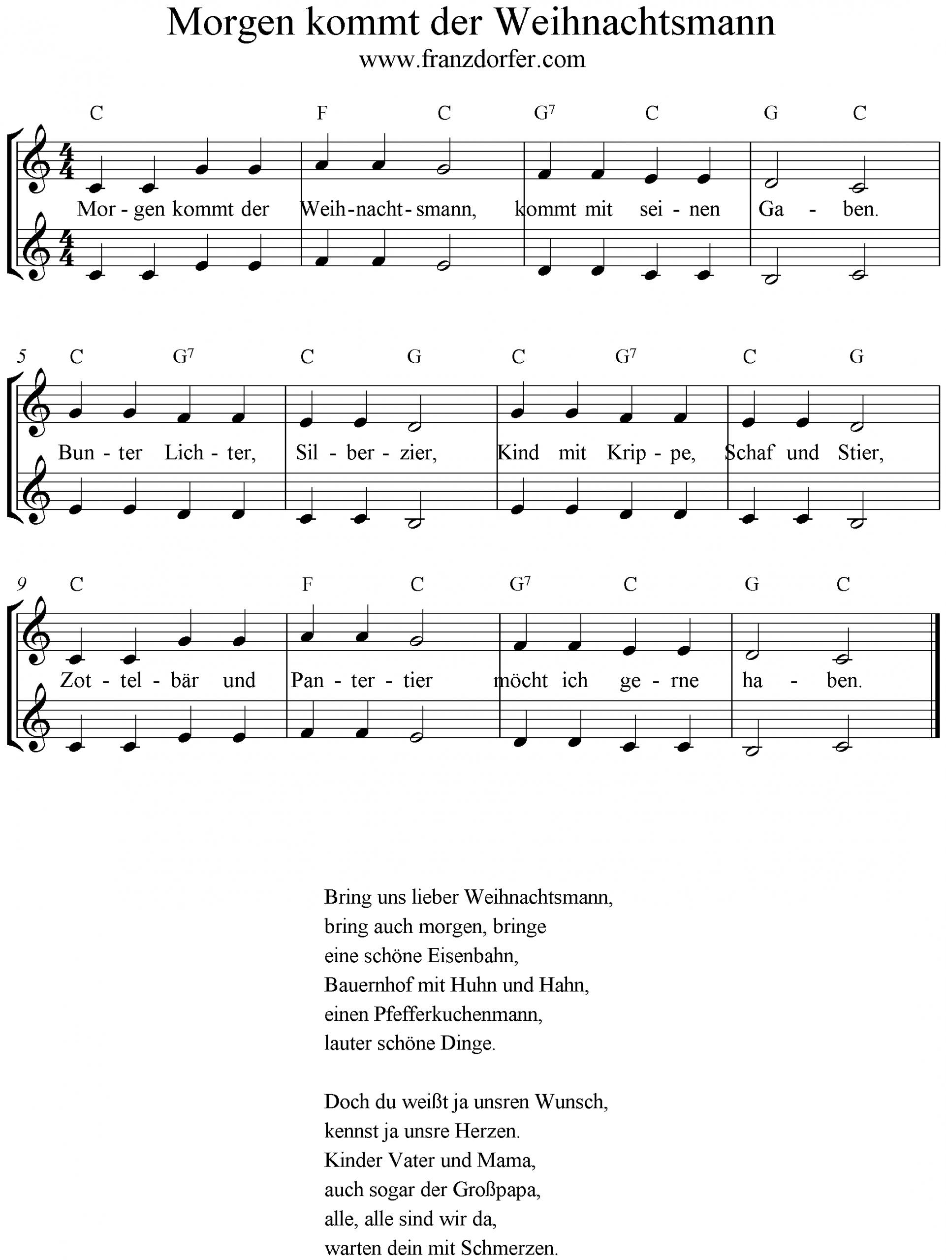 Liedtext Morgen Kommt Der Weihnachtsmann