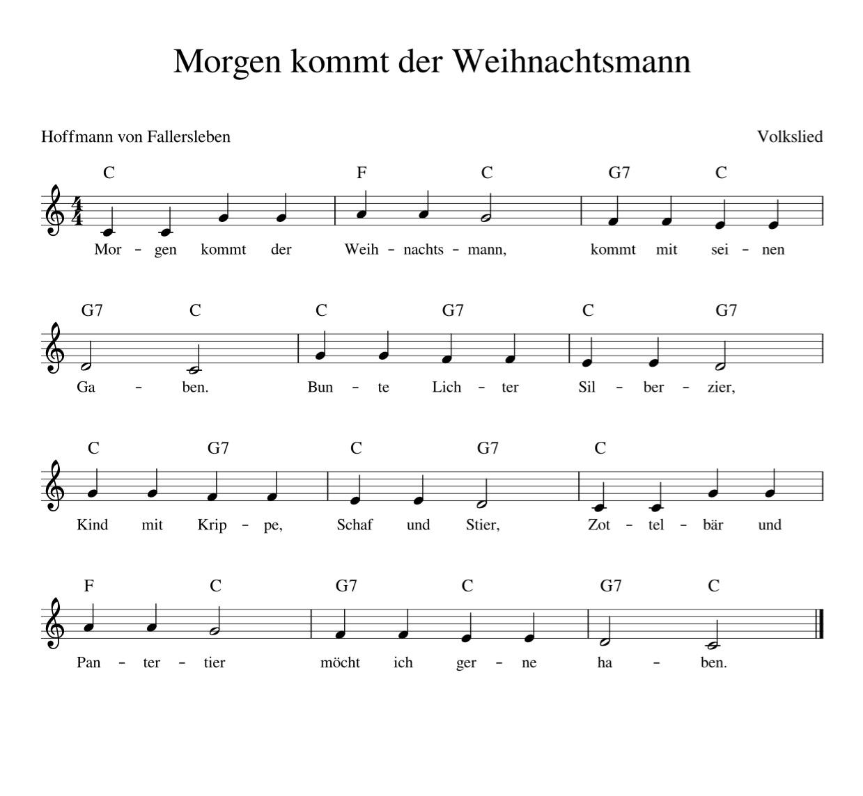 Morgen Kommt Der Weihnachtsmann - Kinderlieder - Noten über Alle Vögel Sind Schon Da Akkorde