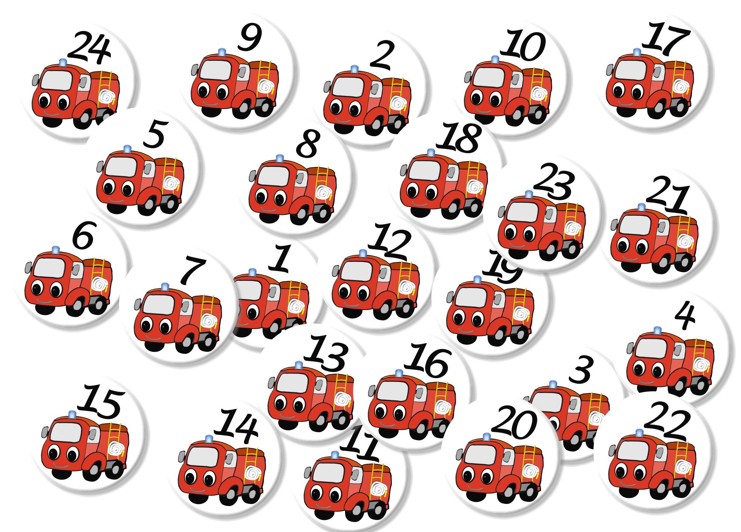 Motiv Feuerwehr, Feuerwehrauto 24 Stück, Button Für Einen bestimmt für Feuerwehr Motive