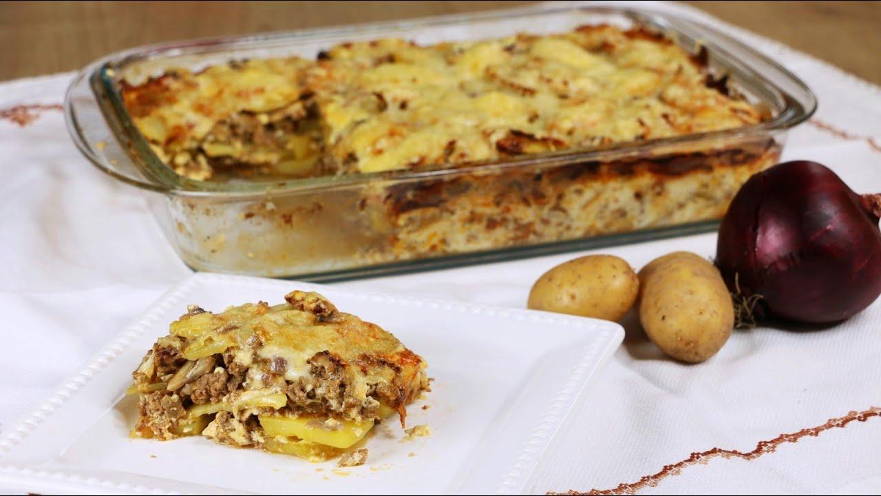 Moussaka Nach Balkanart - Schnelle, Einfache Version Mit Fleisch &  Kartoffeln -Schnelles Mittagessen ganzes Moussaka Rezept Kartoffeln Hackfleisch