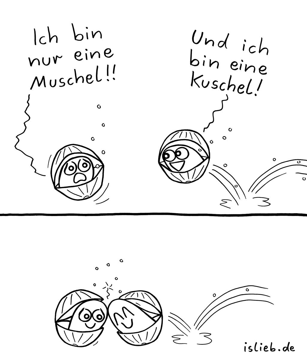 Muschel mit Comic Muschel