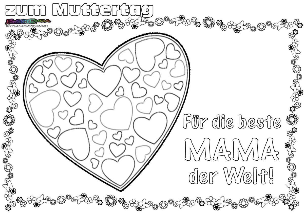 Muttertag Ausmalbild & Malvorlage ❦ Gruß Mit Herz (Mit in Zauberbilder Zum Ausmalen