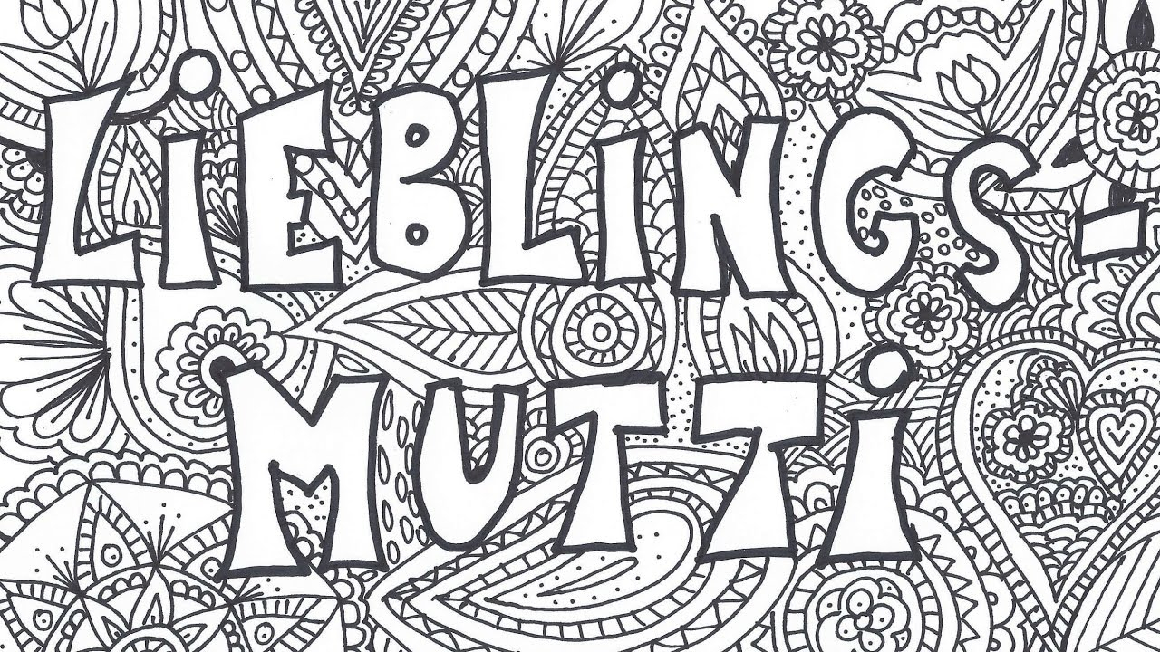 """Muttertag Mandala Zeichnen """"lieblingsmutti""""   Speed Drawing   Malvorlage  Kostenlos Ausdrucken verwandt mit Bilder Zum Ausdrucken"""