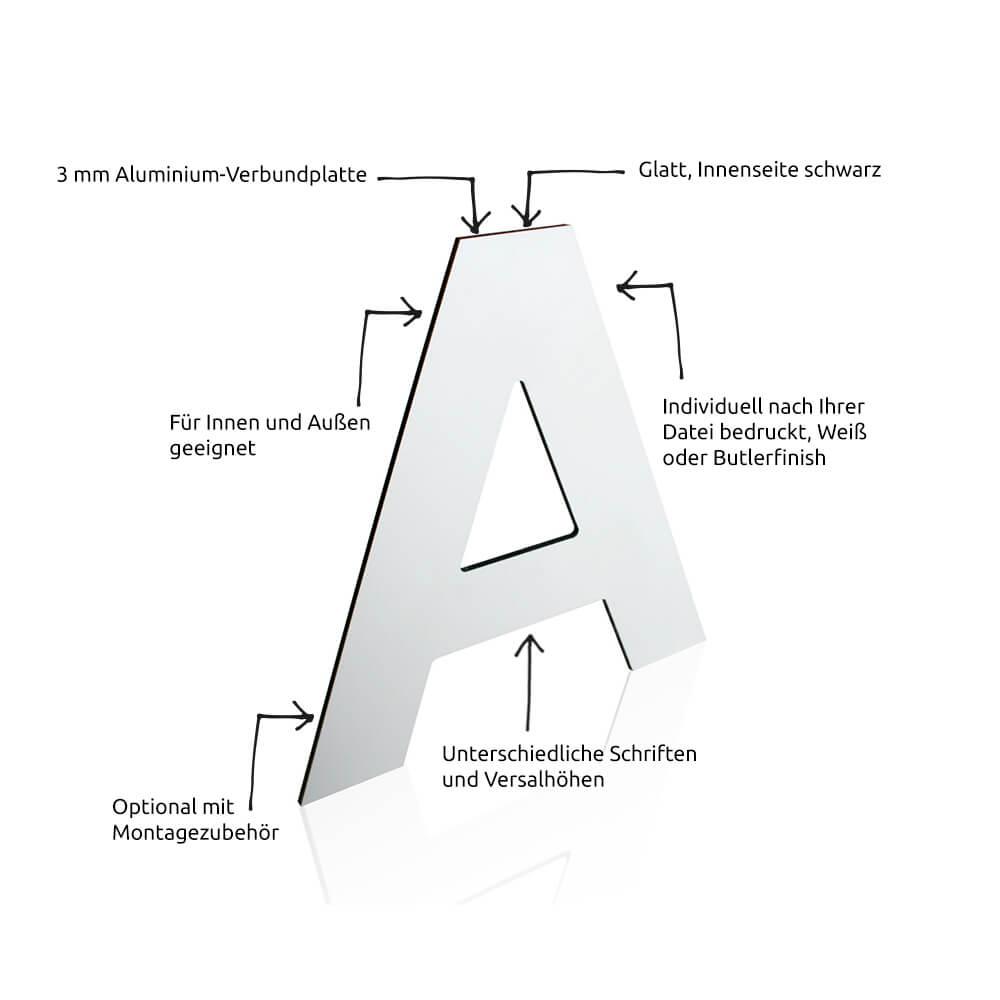 My 3D-Buchstaben Alu-Dibond verwandt mit Bilder Aus Buchstaben