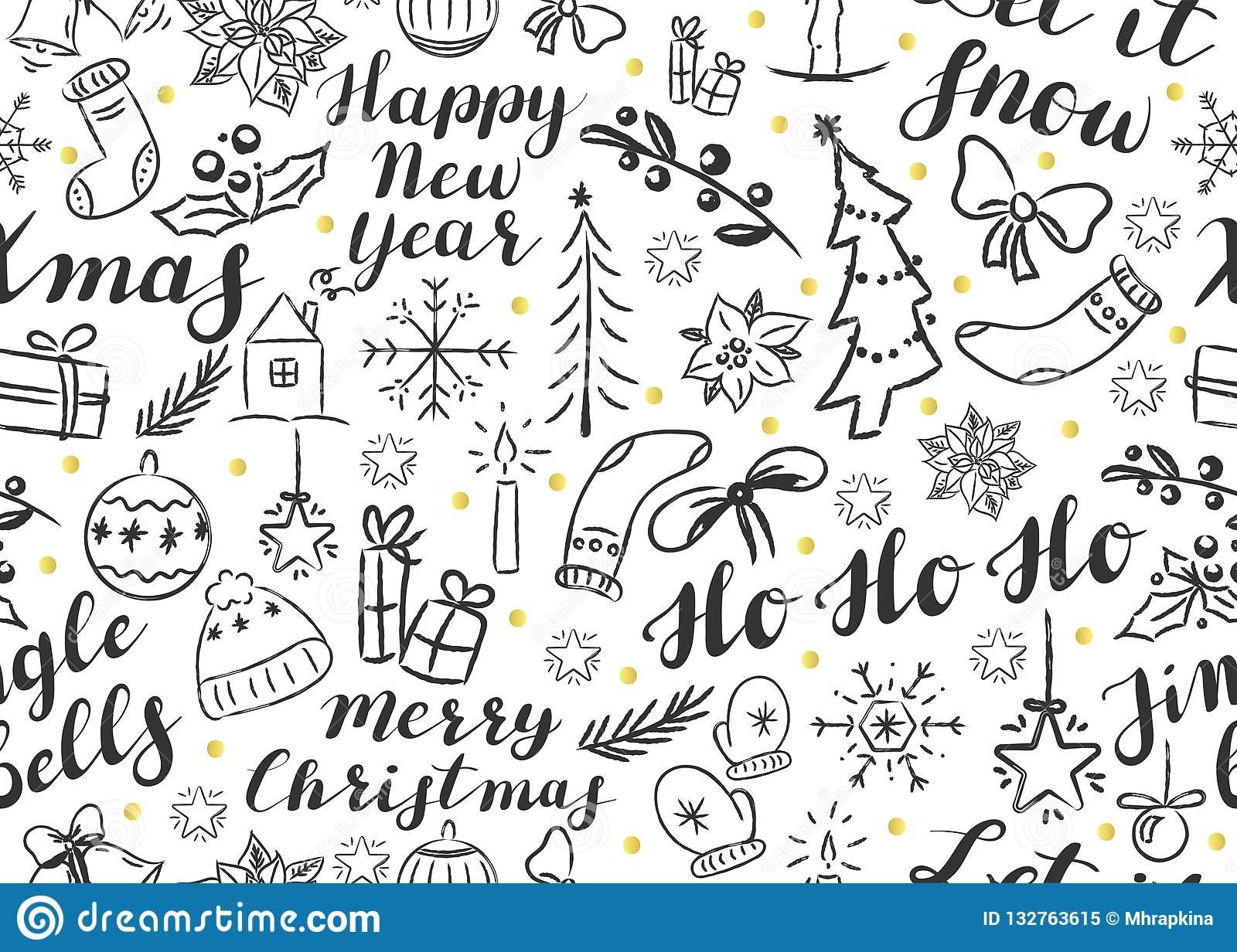 Nahtloses Weihnachtsmuster Mit Beschriftung Und Gekritzeln für Weihnachtsvordrucke Kostenlos