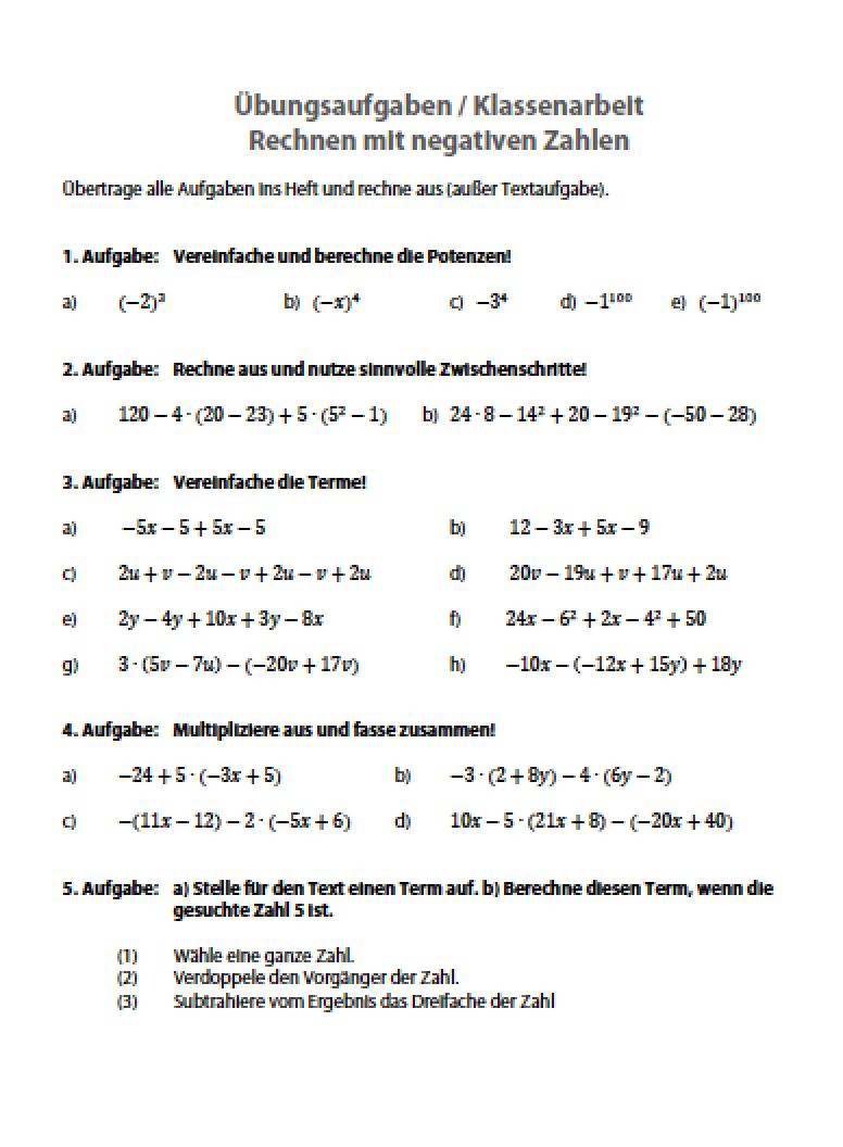 mathe arbeit 6 klasse gymnasium