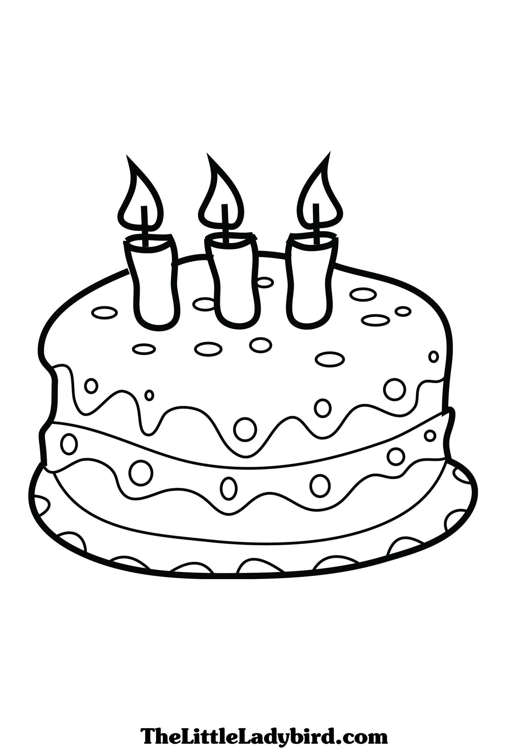 Neu Torte Ausmalen   Geburtstag Malvorlagen, Kinder in Kuchen Ausmalbild
