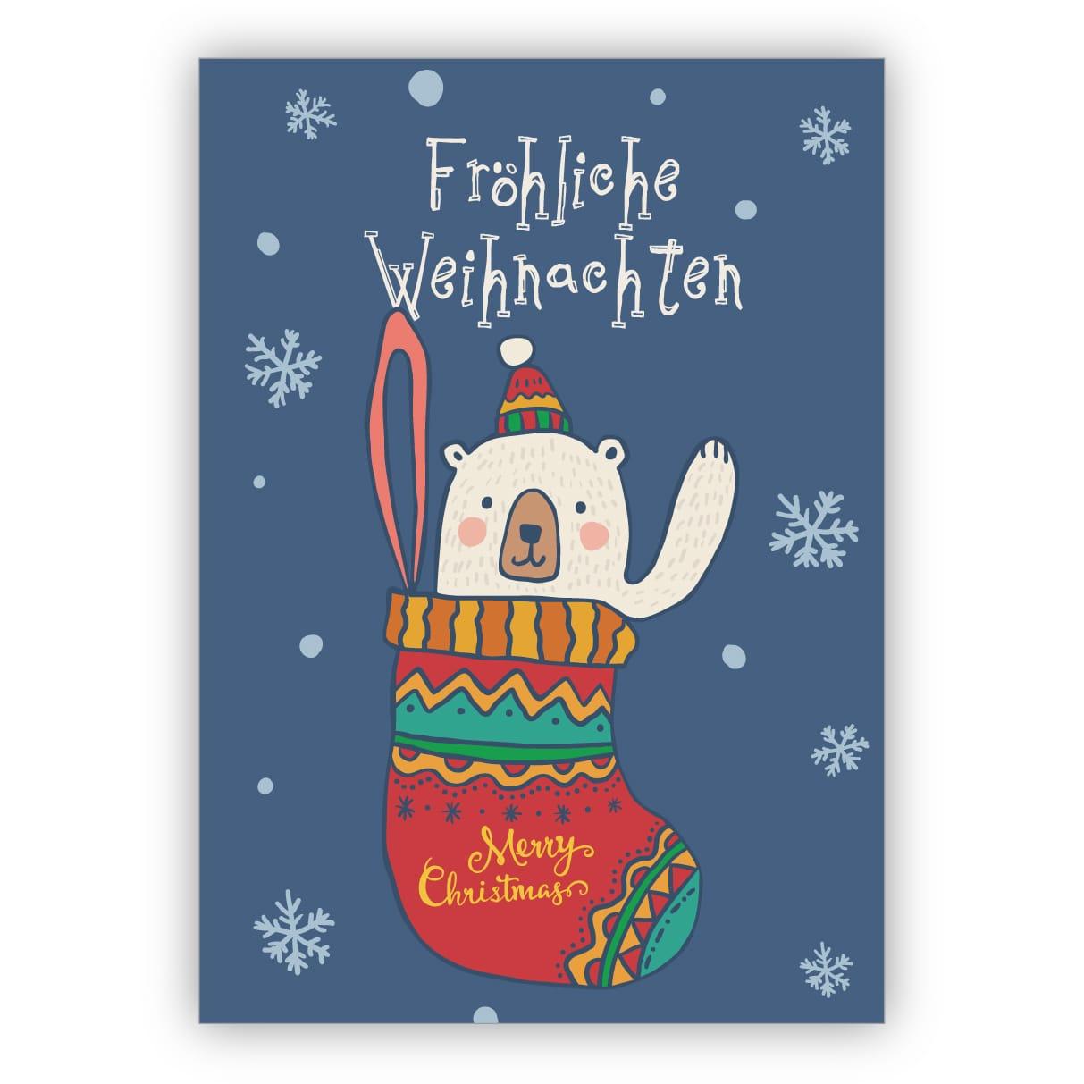 Niedliche Kinder Weihnachtskarte Mit Eisbär In Weihnachts Strumpf:  Fröhliche Weihnachten bestimmt für Weihnachtskarte Für Kinder