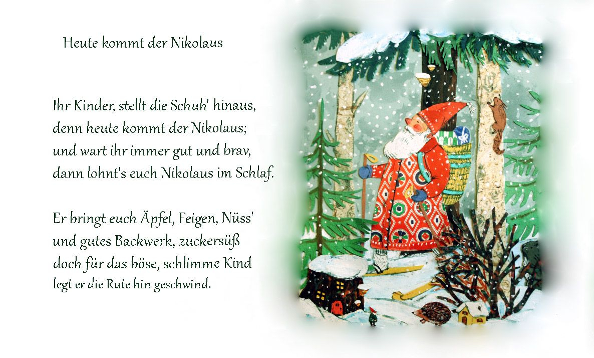 Nikolaus Gedicht Kindergarten Erzieherin Kita Kinder Winter in Gedichte Zum Advent Für Kindergartenkinder