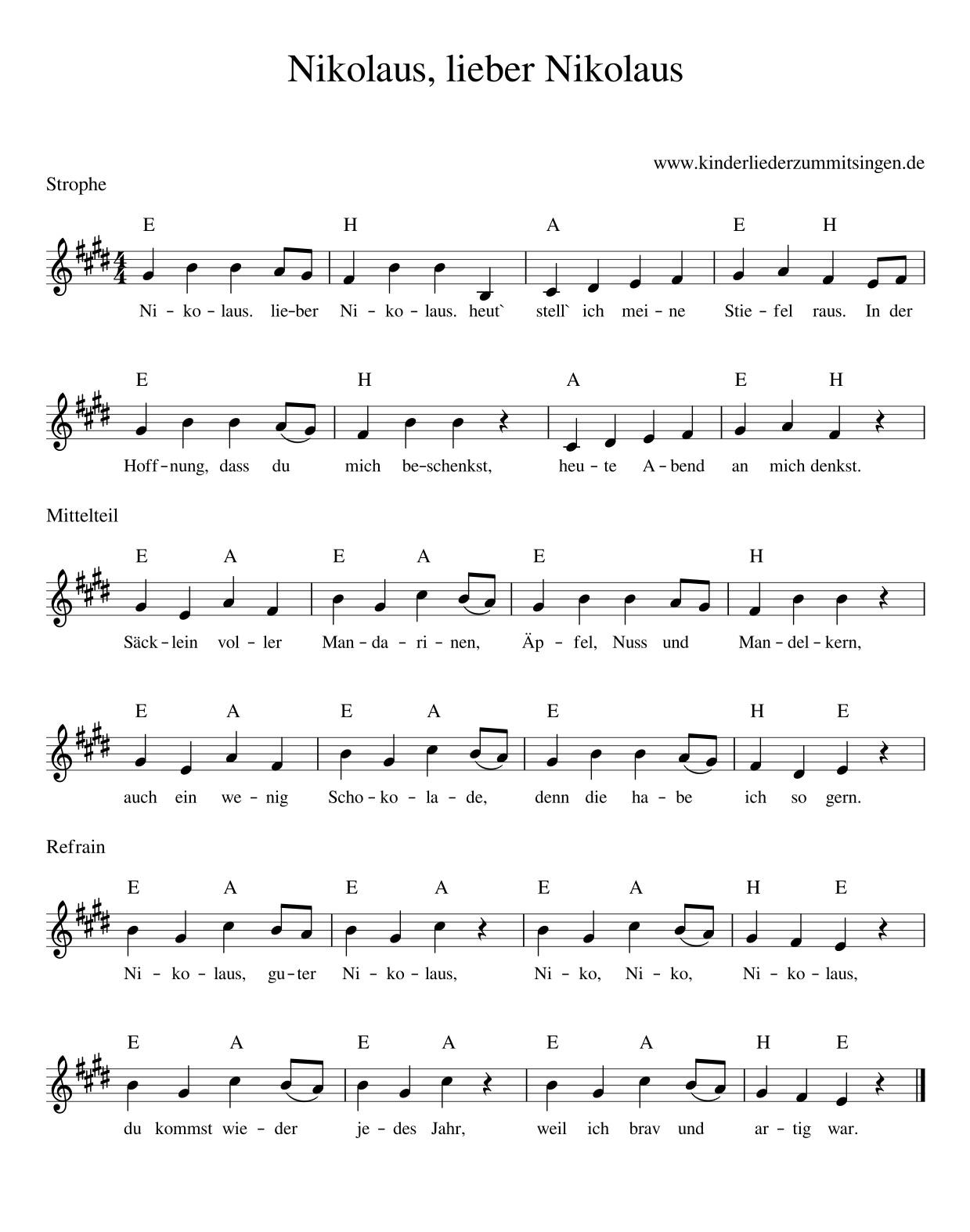 Nikolaus, Lieber Nikolaus - Kinderlieder - Noten - Text bei Guten Tag Ich Bin Der Nikolaus Akkorde