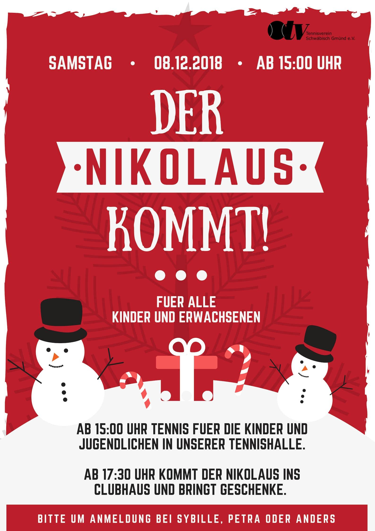 Nikolausfeier Am 8.12.2018 - Tennisverein Schwäbisch Gmünd E.v. verwandt mit Nikolausfeier Für Erwachsene Gestalten