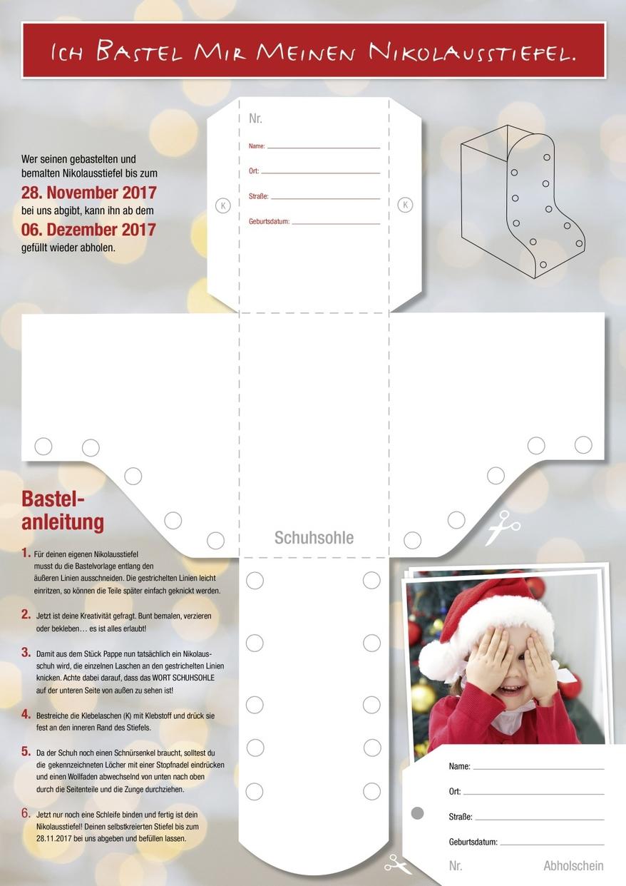Nikolausstiefel Basteln - Papier Onken Oldenburg für Bastelvorlage Nikolausstiefel