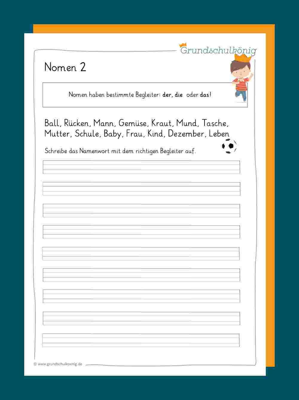 Nomen bei Schreibübungen 2 Klasse Zum Ausdrucken