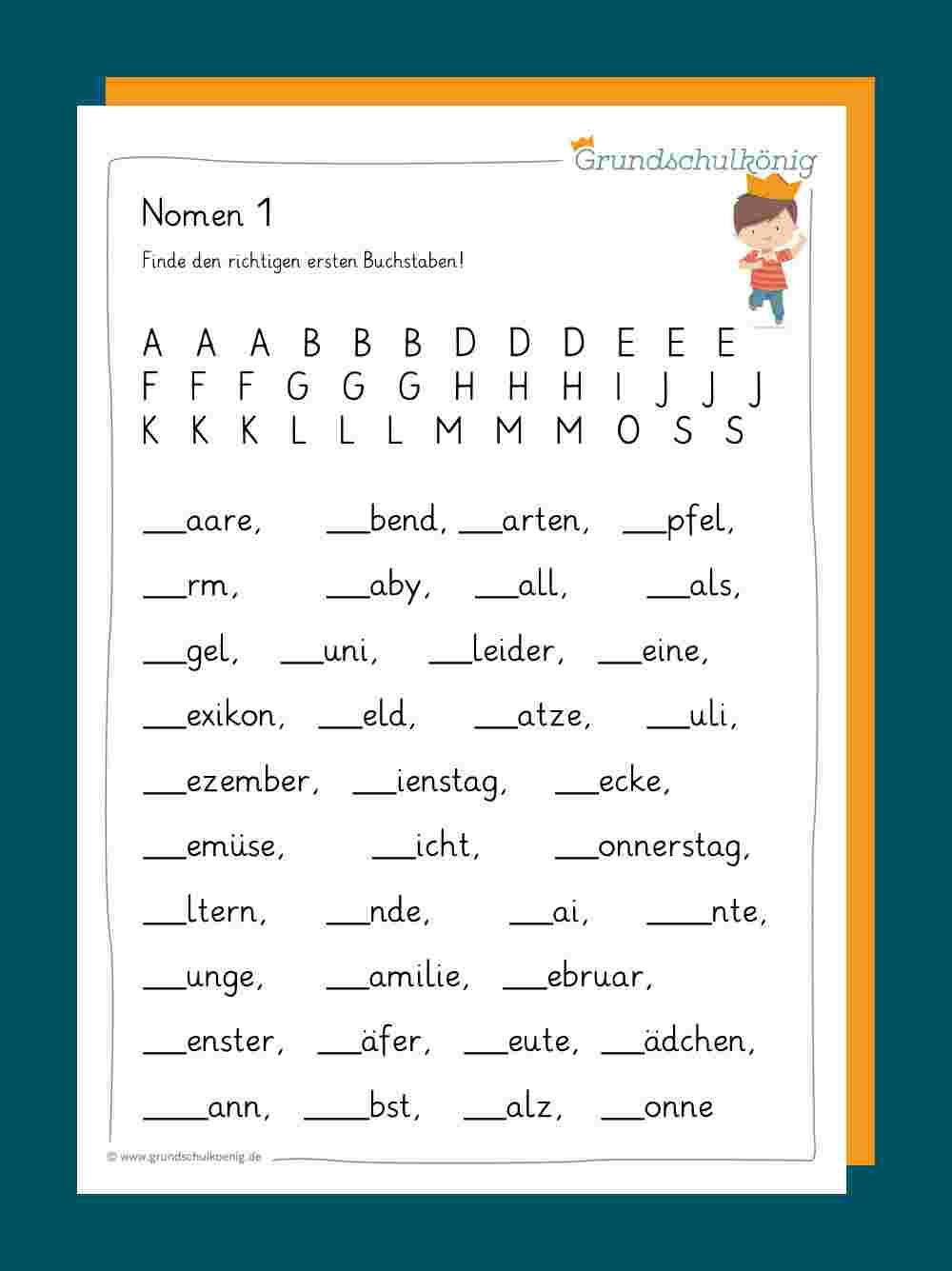 Nomen innen Schreibübungen 2 Klasse Zum Ausdrucken
