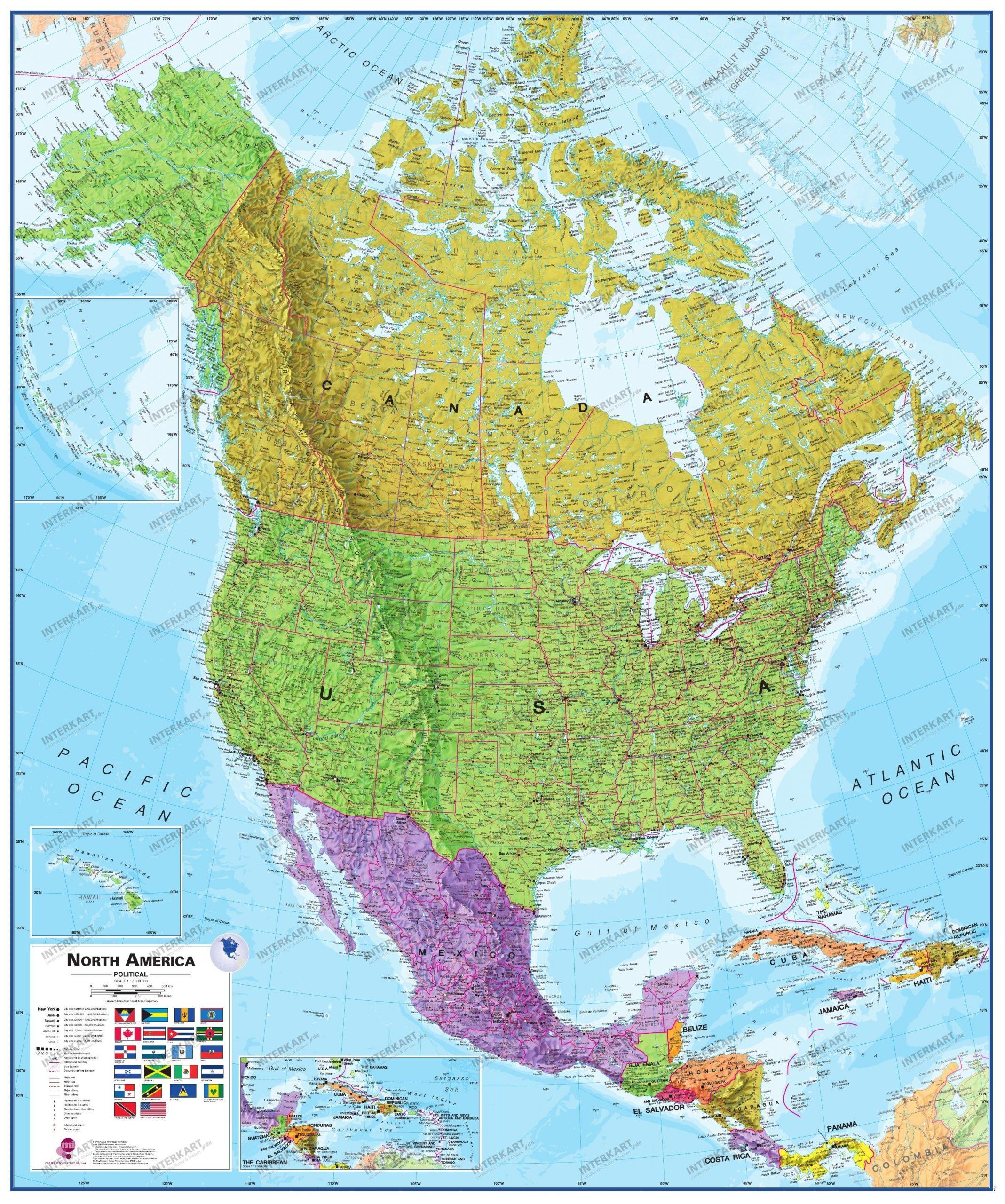 Nordamerika Karte Politisch 100 X 120Cm für Nordamerika Karte Mit Staaten Städte