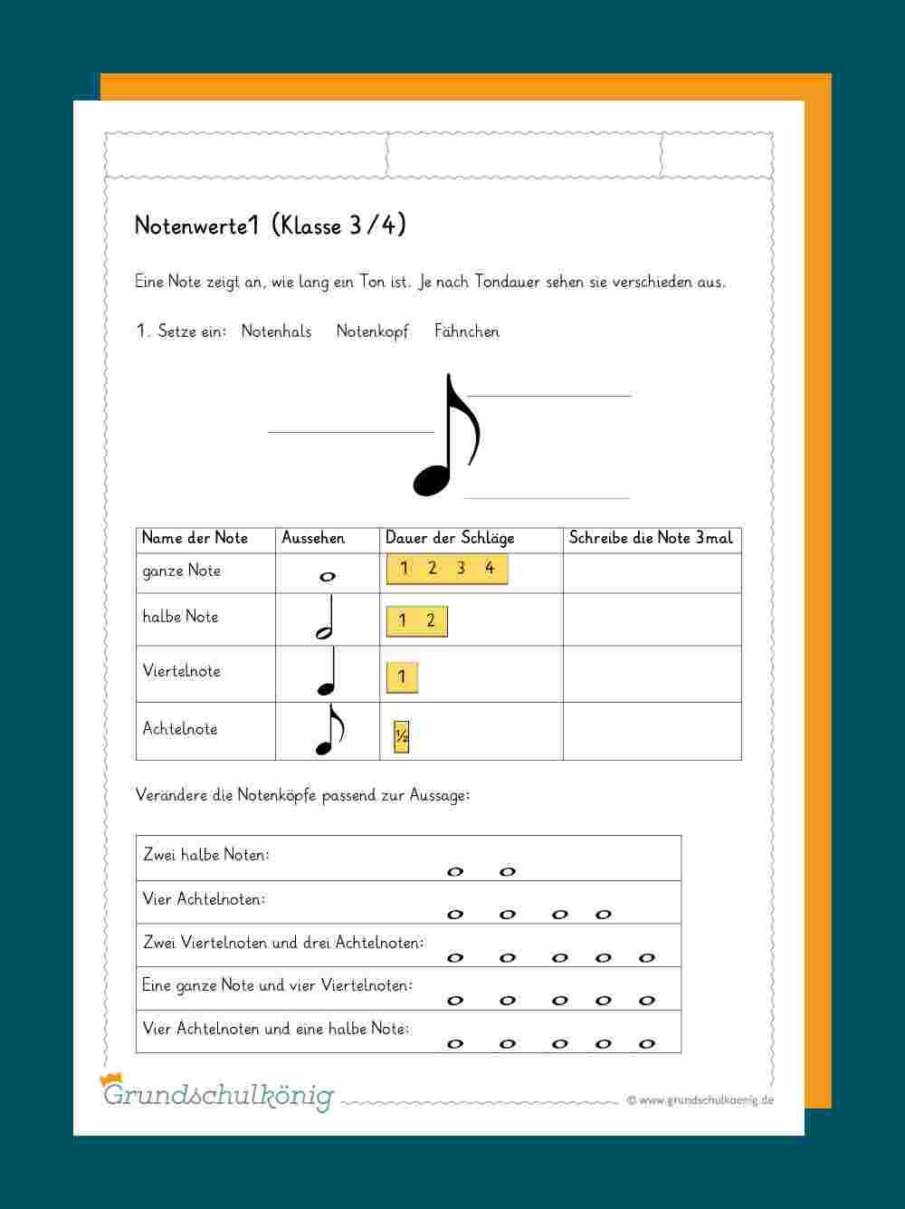 Noten / Notenschlüssel über Notenschlüssel Grundschule Niedersachsen