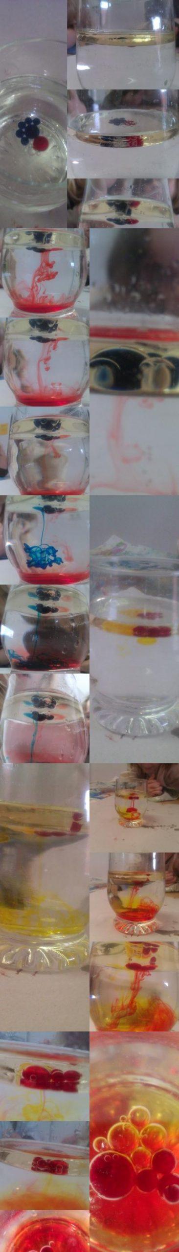 Öl In Wasser Material: Glas, Wasser, Lebensmittelfarbe verwandt mit Experiment Mit Wasser Öl Und Lebensmittelfarbe