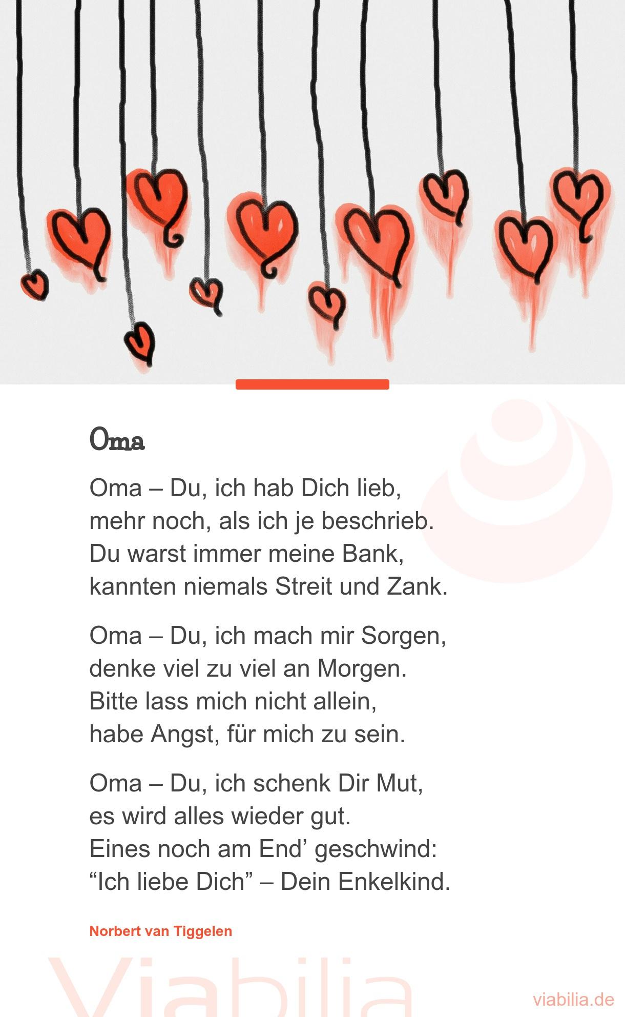 Oma Oma - Du, Ich Hab Dich Lieb, Mehr Noch, Als Ich Je für Für Die Beste Oma Der Welt Gedichte