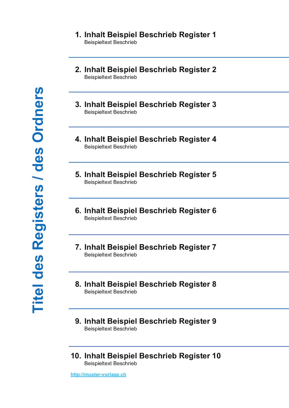 Ordnerregister Vorlage - Deckblatt | Gratis Word-Vorlage bei Inhaltsverzeichnis Vorlage Word Zum Ausdrucken