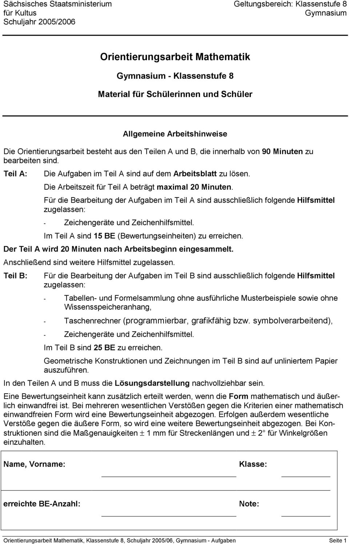 Orientierungsarbeit Mathematik - Pdf Free Download bestimmt für Orientierungsarbeiten 2 Klasse Bayern