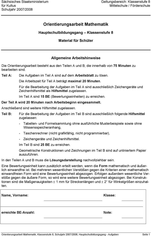 Orientierungsarbeit Mathematik - Pdf Kostenfreier Download ganzes Orientierungsarbeiten 2 Klasse Bayern