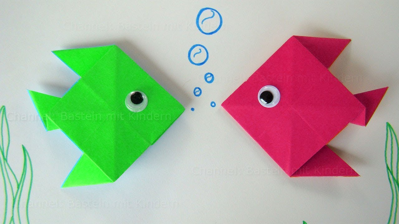 Origami Fish. Fold A Fish With Paper. Easy Paper Fish ganzes Basteln Grundschule