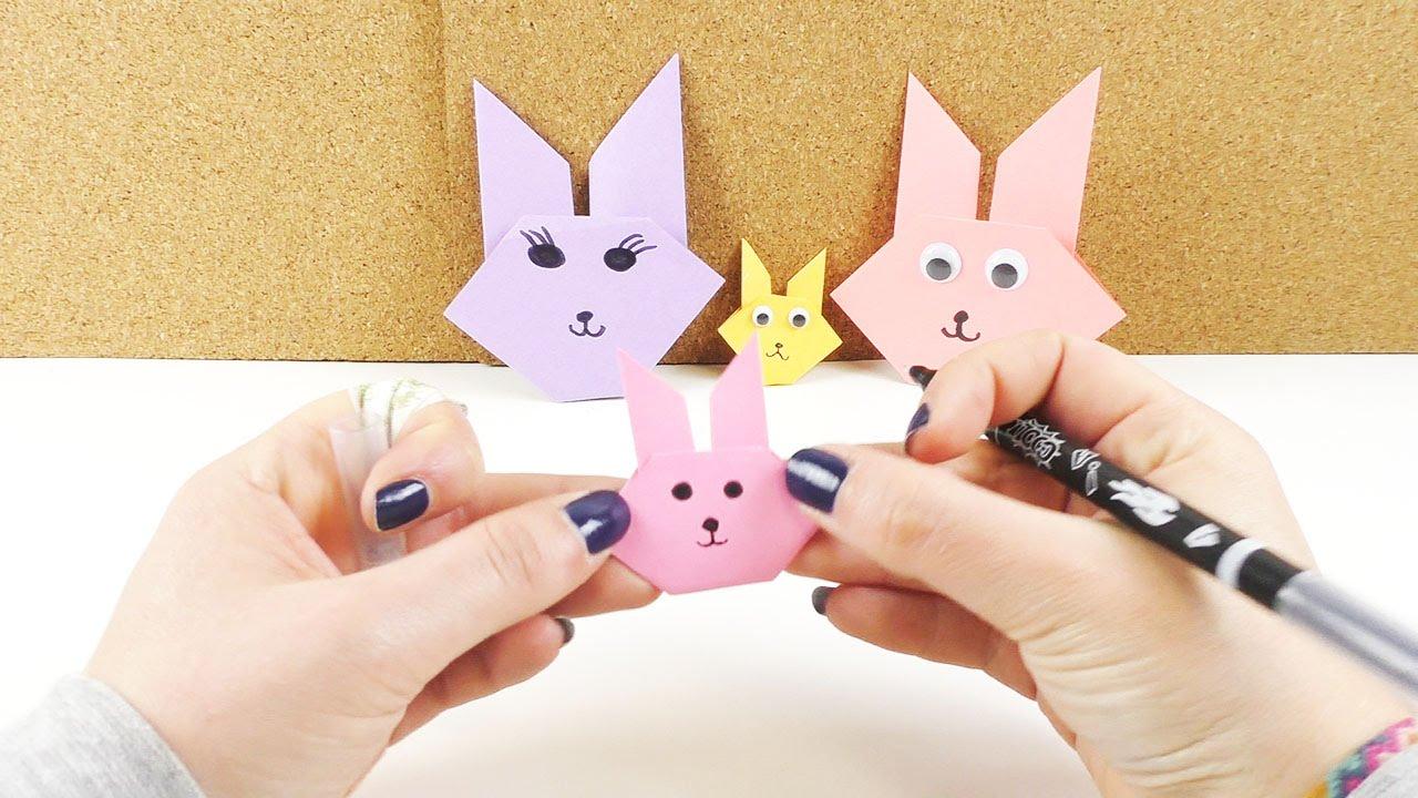 Origami Osterhasen Gesicht Einfach Falten | Osterhasen Basteln Aus Papier |  Deutsch für Osterhasen Gesicht